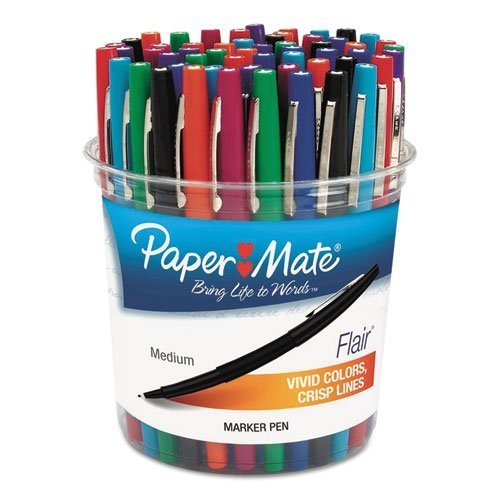 Paper Mate Flair Felt Tip Marker Pen, Assorted Ink, Medium, 48 Pens/Set (PAP4651) by Paper Mate (Image #1)