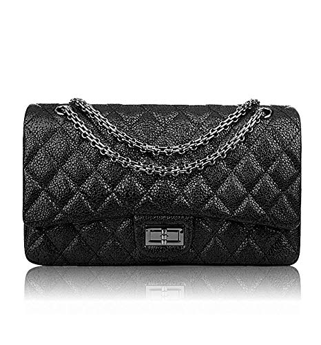 (Ainifeel Women's Quilted Leather Shoulder Handbag With Chain Strap (Large, Black B))