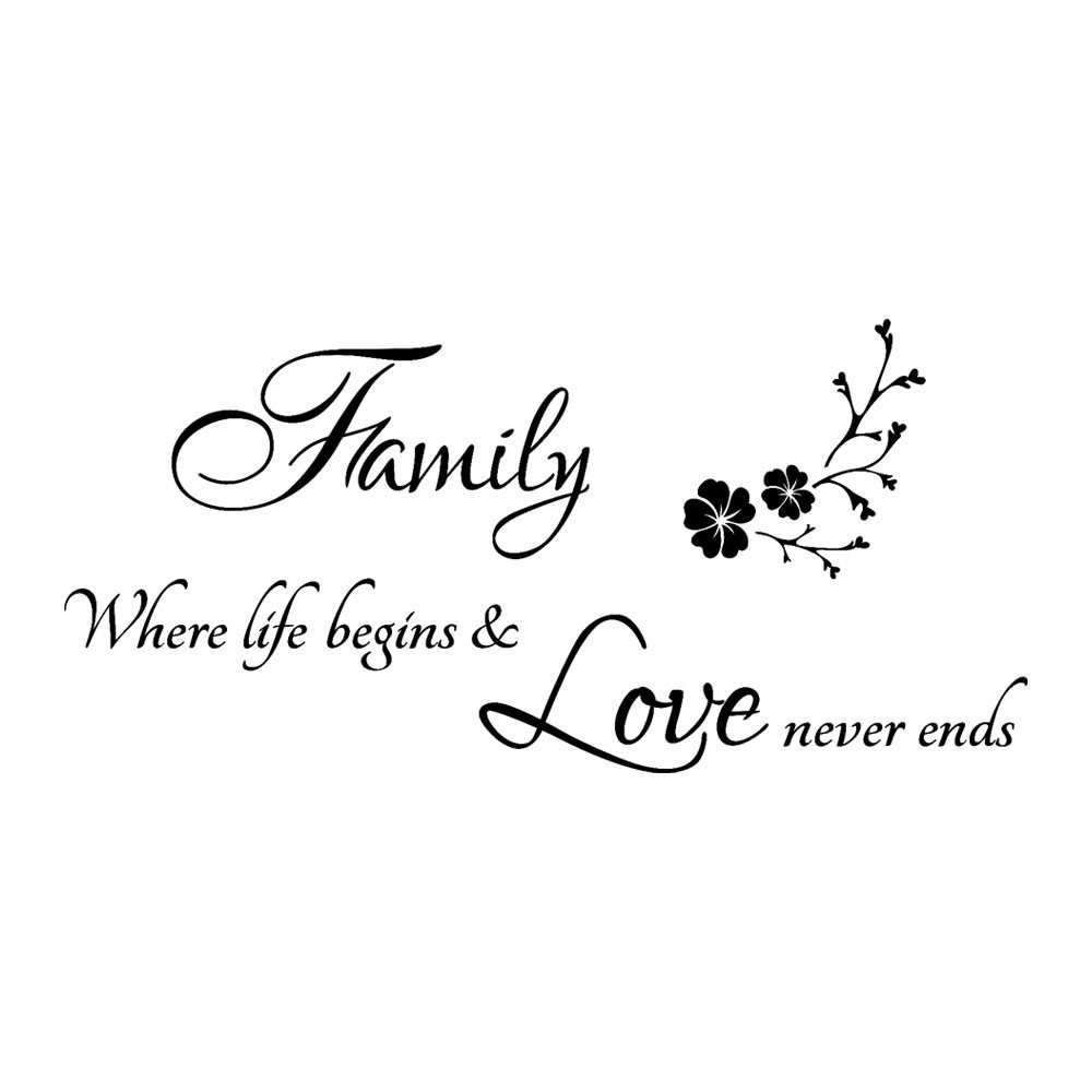 EdC DIY Family Home Word Sticker, DIY Removable Cute Wallpaper Lovely Decorative Wall Stickers for Living Room Nursery Kids Bedroom Home Decoration Vinyl Art Mural Decor