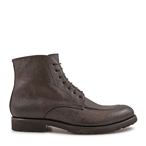 LEONARDO SHOES HOMME 3376SCOZIA MARRON CUIR BOTTINES