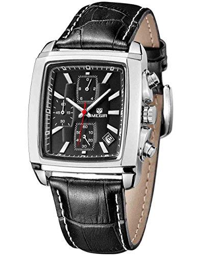 Quartz Chronograph Men's Business Casual Watch Leather (Fossil Casual Belt)
