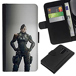 ZCell / LG G3 / Warrior Woman Grey Hero Game / Caso Shell Armor Funda Case Cover Wallet / Guerrero Mujer Gris Hero Juego