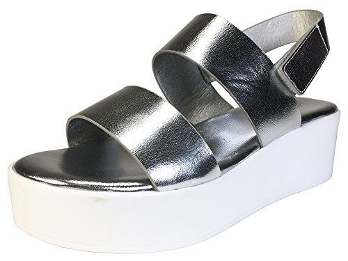 BAMBOO Women's Double Band Platform Footbed Sandal with Ankle Strap, Silver PU, 8.0 B (M) US
