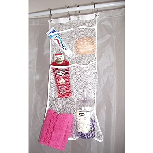 Mesh Hanging Pocket Shower Caddy Organizer. Hang On Shower Curtain ...