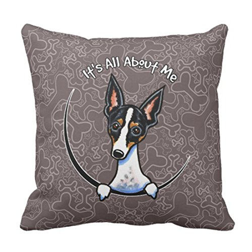 (Emvency Throw Pillow Cover Funny Lover Tricolor Rat Terrier Cute Miniature Decorative Pillow Case Home Decor Square 18 x 18 Inch Pillowcase)
