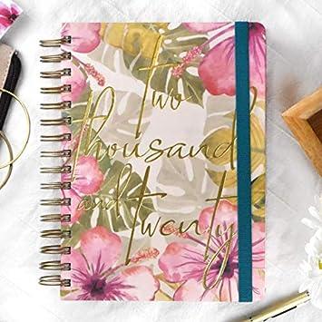 Agenda anual 2020 Hibiscus - Día Página Anillas A5 -Takenote Agendas- Agenda Bilingüe Español- Ingles