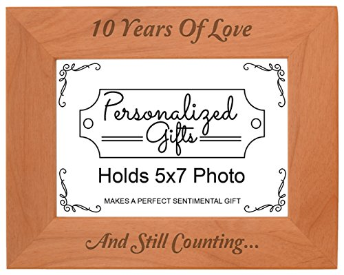 10th Anniversary Gifts 10 Years and Counting Natural Wood Engraved 5x7 Landscape Picture Frame Wood