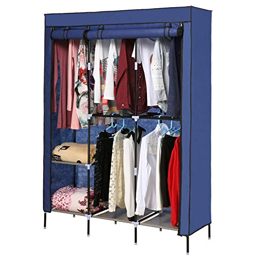 - Miageek Portable Wardrobe Clothes Storage Organizer with Hanging Rack Non-Woven Thickening Dust Closet[US Stock] (Blue 2)