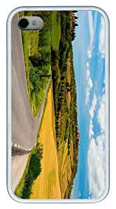 slim cover Sunny day country road TPU White Case for iphone 4/4S
