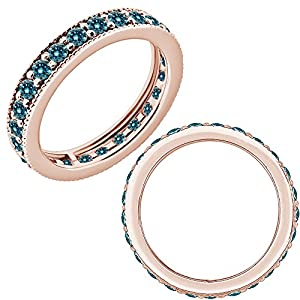 1.25 Carat Blue Diamond Beaded Eternity Bridal Engagement Wedding Band Ring 14K Rose Gold