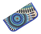 Soft Slip In Eyeglass Case And Holder For Women, Fun Bohemian Design, Blue