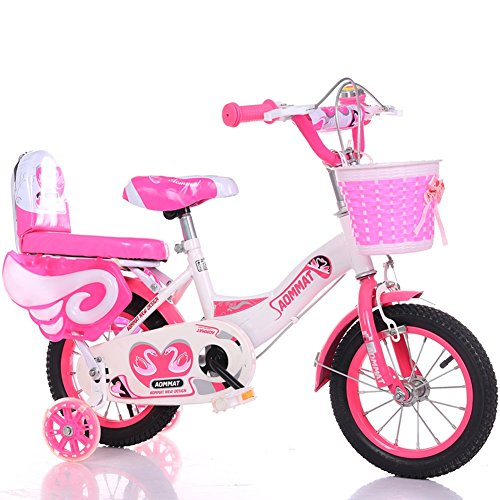 Pink Roadster Pedal Car - YXGH- Children Bicycle 3-6-9 Years Old Boys and Girls 12/14/16/18 Inch Baby Carriage Kids's Bike Cycling Flash Mute Auxiliary Wheel (Color : Pink, Size : 12