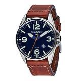 Torgoen T10 Dark Blue Pilot Watch | 44mm - Vintage Leather Strap