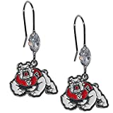 Siskiyou NCAA Fresno State Bulldogs Crystal Dangle Earrings, White