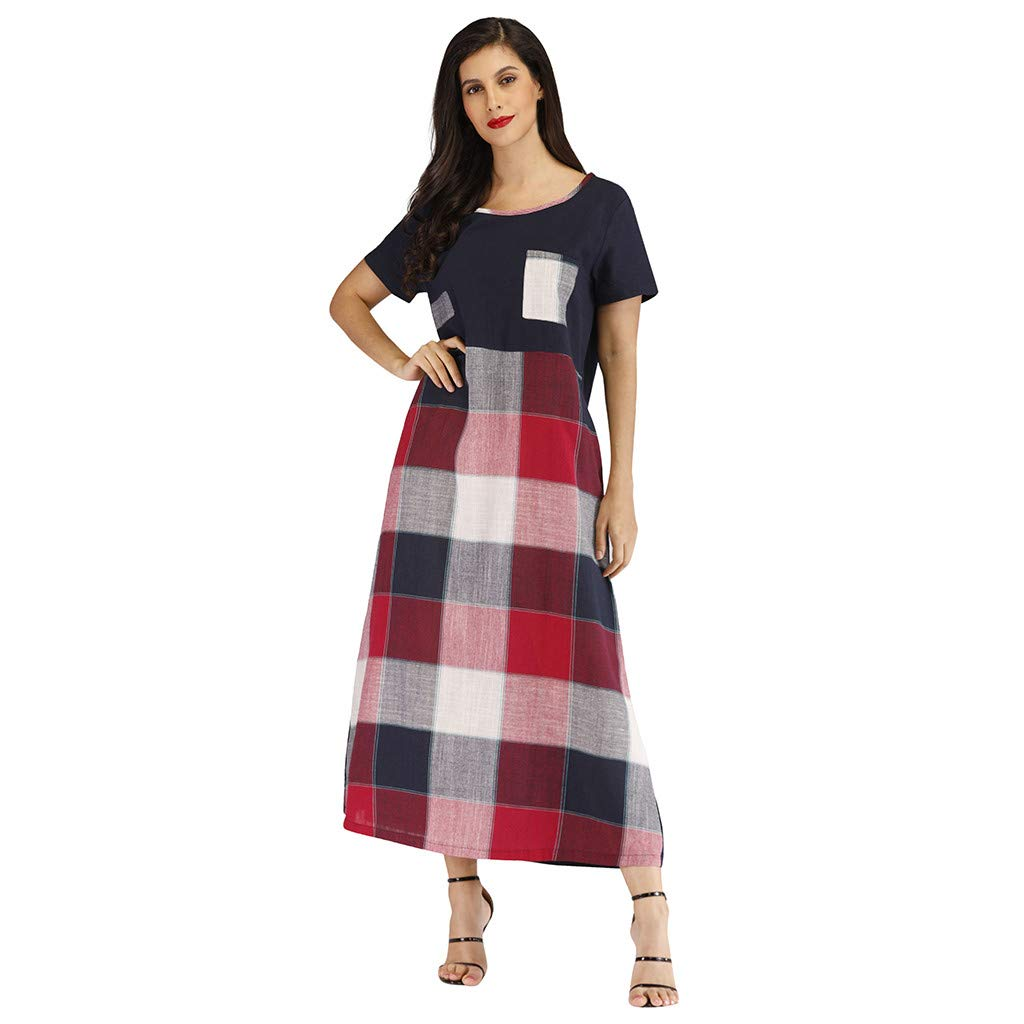 OWMEOT Women's Casual Loose Long Sleeve Striped/Plaid Tunic Dress with Pockets (Black,M)