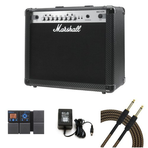 Marshall MG30CFX 30 Watt Guitar Combo Amplifier Bundle with Cables, Power Adapter, and Zoom G1Xon Guitar Effects Pedal