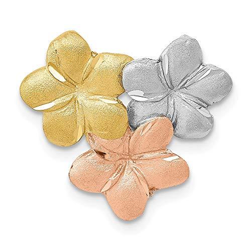 14k Tri-Color Gold Satin & Diamond Cut Plumeria Slide Pendant, 18mm