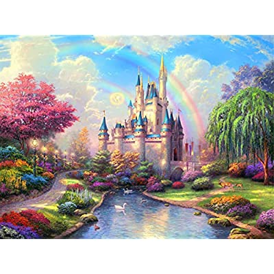 XIECCX Jigsaw Puzzle (1000-Piece) Fairy Tale Castle Unique Home Games for Kids Adult Decompression Toys Leisure Time Easy-Clean Promotes Hand-Eye Coordination: Toys & Games