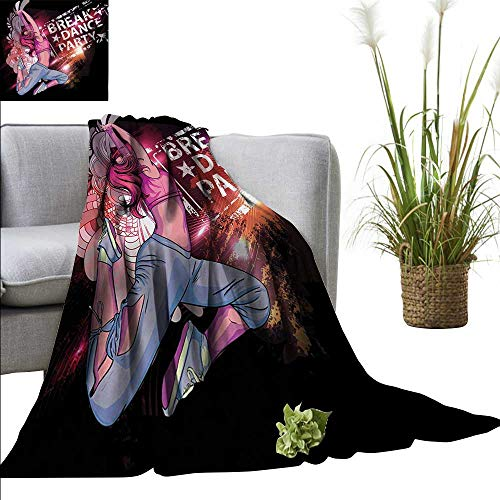 homehot Youth Warm Blanket Break Dance Party Poster Design with a Teen Girl Jumping Disco Nightclub Lifestyle Sofa Chair 71