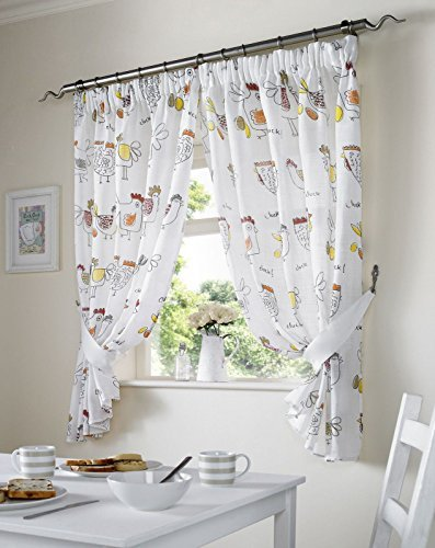 Chickens Kitchen White Net Curtains Red Natural 46 X 42 Pair Ready Made Pencil