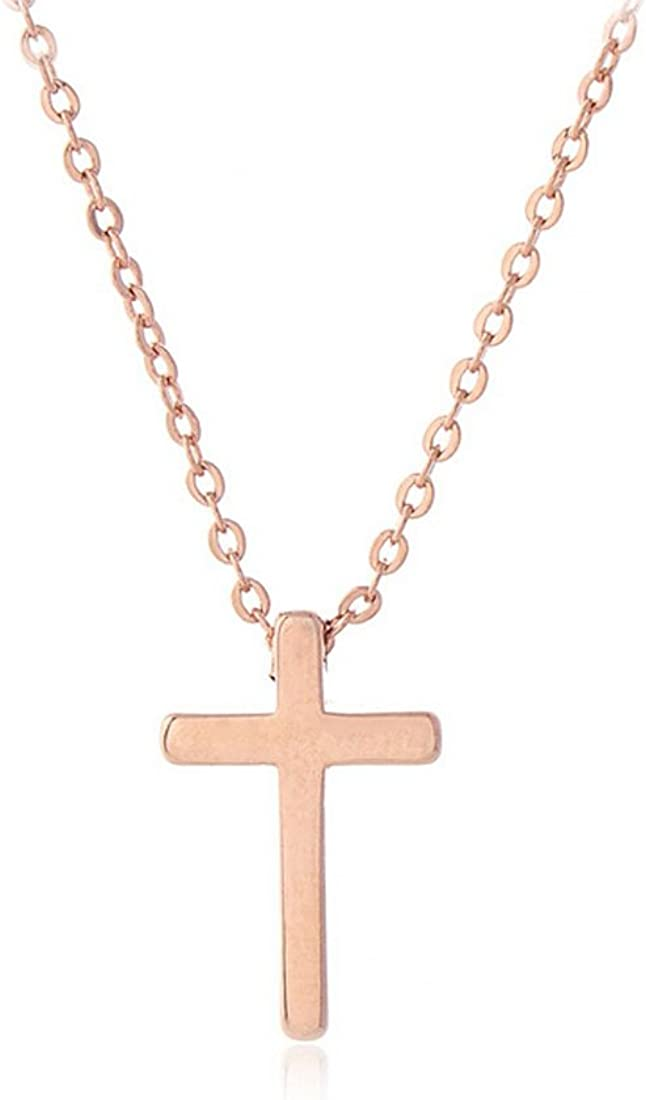 Amazon Com Rose Gold Plated Simple Cross Necklace Tiny Cross