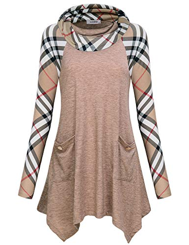 Long Sleeve Shirt Women, Juniors Boutique Clothing Stylish Relaxed Fitted Designer Rolled Neck Irregular Hem Trapeze Color Block Grid Printed Tunic Tops and Blouse for Leggings Wear Beige L