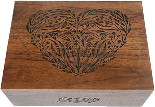 Floral Heart Laser Cut Wood Keepsake Box (Wedding Gift/Baby Shower Gift / 5 Year Anniversary/Heirloom/Decorative/Handmade/Personalized Available)