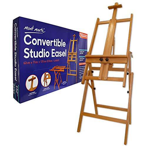 - Mont Marte Convertible Studio Easel. Floor Easel Suitable for a Range of Canvas Sizes. Easy Height and Tilt Adjustment.