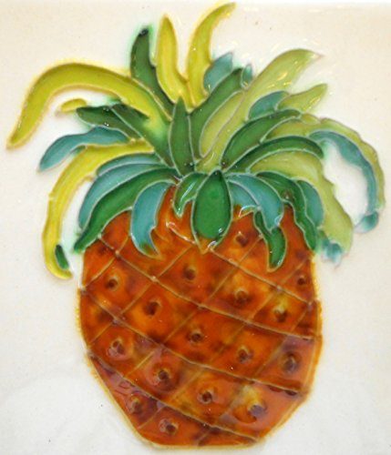 Tile craft pineapple ceramic art tile coaster 4x4 inches with easel back ()