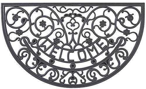 Envelor Home and Garden Welcome Door Mat Fleur De Lis Wrought Iron Rubber Doormat Indoor Outdoor Shoe Scraper Outside Entrance Floor Mat 18 x 30 Inches - Garden Door Mat Art