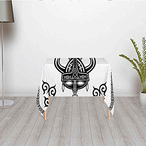 Viking Waterproof Satin Tablecloth,Helmet with Horn Arrow Axe Antique War Celtic Style Medieval Battle Art Prints for Wedding Party Banquet Restaurant Kitchen Dining Decoration,23.62''W x 23.62''H (Cloth Viking Helmet)
