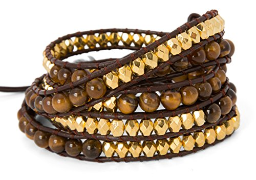 Sterling Tigers Eye Bead Bracelet (5 Wrap Bracelet with Tigers Eye and Faceted Brass Gold Toned Beads | SPUNKYsoul)