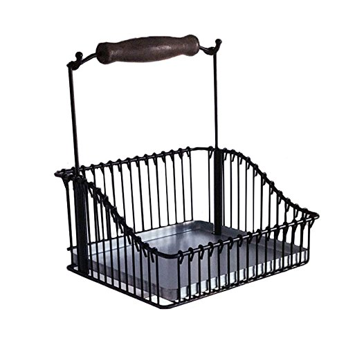 - FINTORP Steel Wire Basket Wall-Mounted,Dish Drainer Length 7.75 x Height 9 Inch Spice Rack Oil Bottle with Hanging Basket -Galvanised Black