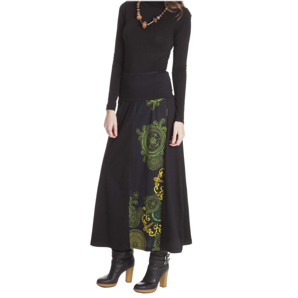 LE ORANGE MOON Falda Larga de Mujer - Lisa/Estampada - Negro/Verde ...