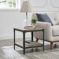WE Furniture Angle Iron Wood End Tables in Rustic Oak - Set of 2