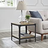 WE Furniture Angle Iron Wood End Tables in Rustic Oak – Set of 2 For Sale