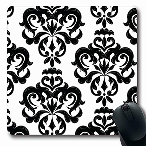 LifeCO Mouse Pad in Black Classic Floral Pattern Damask Vintage Leaf Baroque Border Filigree Flower Renaissance Design Oblong Shape 7.9 x 9.5 Inches Mousepad for Notebook Computer Mat Non-Slip Rubber
