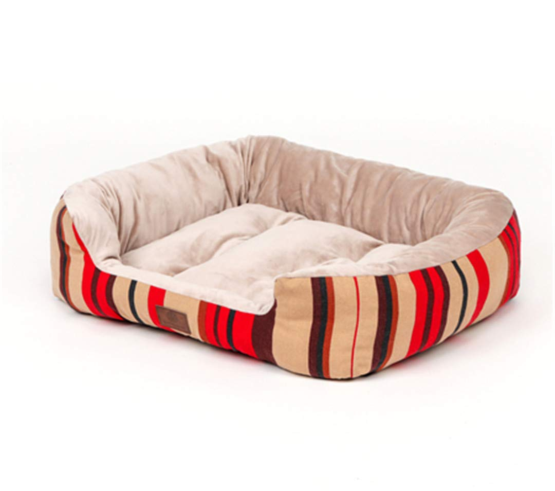 Gteplany Crystal Plush Fleece Lounger Dog Bed Pet Bed for Cats and Dogs Breathable Warm and Comfy Pet House Large Size Dog Sofa Dog House Red LINE 100 x 80 x 20 cm