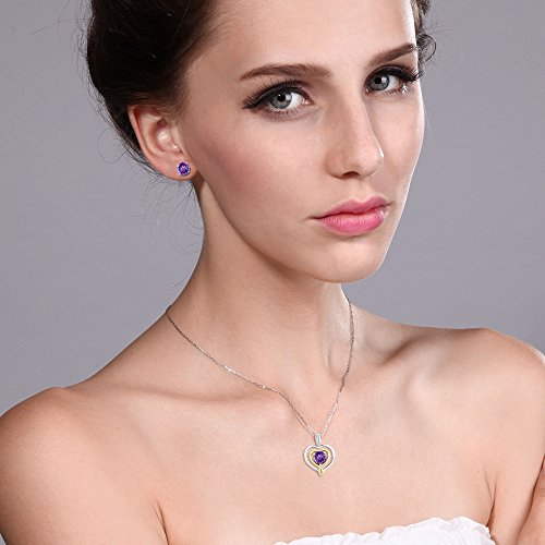 10K Two Tone Gold 1.86 Ct Purple Amethyst and Diamond Pendant Earrings Set by Gem Stone King (Image #1)