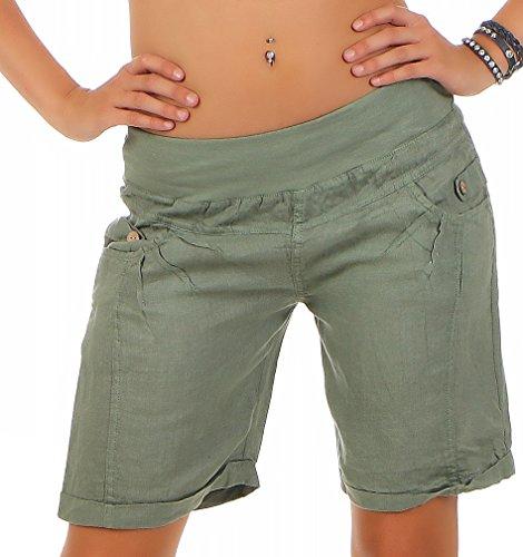 malito Pantaloncini da Tessuto di Lino Pantaloni Hotpants 3001 Donna Oliva