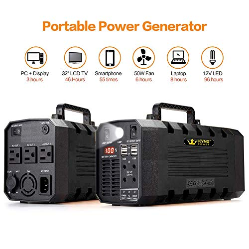 KYNG Power 500W Portable Solar Generator Power Station Battery Powered Back Up Generator Inverter 12V, 3 AC, 4 USB Outlets FREE Solar Panel Cable, Camping, Emergency, CPAP, Outdoor Rechargeable Supply