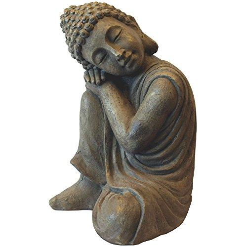 Deko Buddha kniend H43cm Dekofigur Gartenfigur Steinfigur Skulptur Statue Buddhafigur Gartendekoration Buddhismus