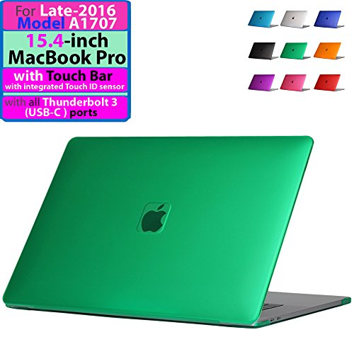"""iPearl mCover Hard Shell Case Late-2016 15-inch Model A1707 MacBook Pro (with 15.4"""" Retina Display, with Touch Bar & Integrated Touch ID Sensor, Thunderbolt 3 / USB-C Ports) (Green)"""