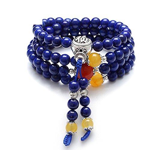 Naturelle lapis lazuli bracelet/ravagé108 chaîne de cire perles Bouddha