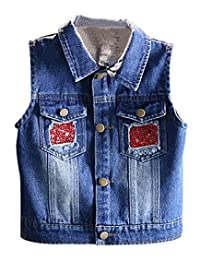DeerBird Little Girl's Ripped Denim Vest with Owl Sequined Applique for Spring