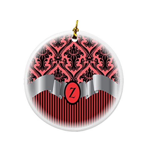 Rikki Knight Letter Z Initial Red Damask and Stripes Monogrammed Design Round Porcelain Two-Sided Christmas Ornaments ()