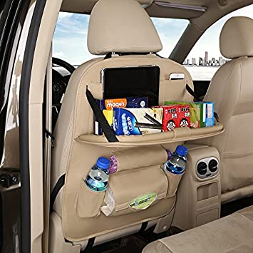 2 Pack PU Leather Car Back Seat Organizer Storage With Foldable Table Tray For Baby Kids