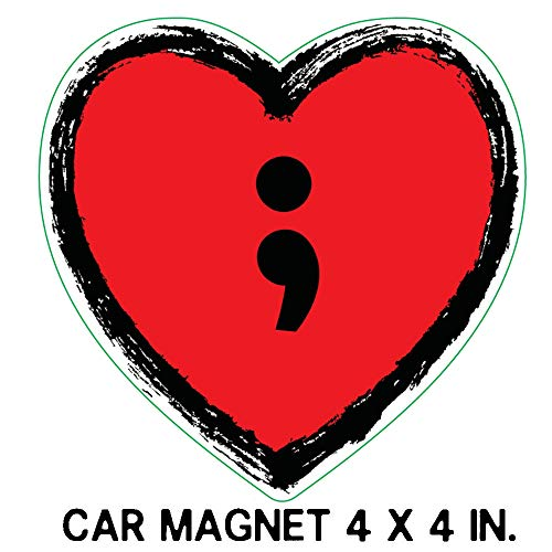 Eventyr Magnet Suicide Awareness Semicolon Red Heart Car or Magnet Refrigerator -