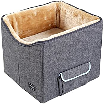 "Petsfit Pet Booster Seat/Lookout Car Seat for Small Dogs and Cats up to 15 Pounds,With Pockets (Gray) 15""Lx16""Wx14""H Small"