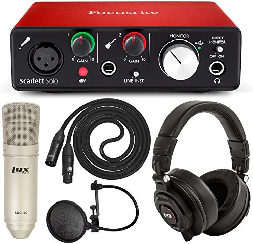 Focusrite Scarlett Solo USB Audio Interface and LyxPro Recording Bundle with Pro Tools | (Pro Tools Vocal Studio)